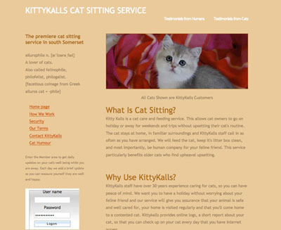 KittyKalls screenshot of their website by FarOffice Limited