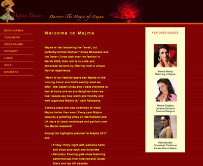 Majam Dance Festival screenshot of their website by FarOffice Limited