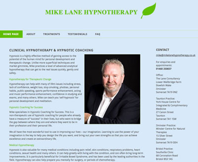 Mike Lane Hypnotherapy screenshot of their website by FarOffice Limited