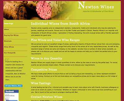 Newton Wines screenshot of their website by FarOffice Limited
